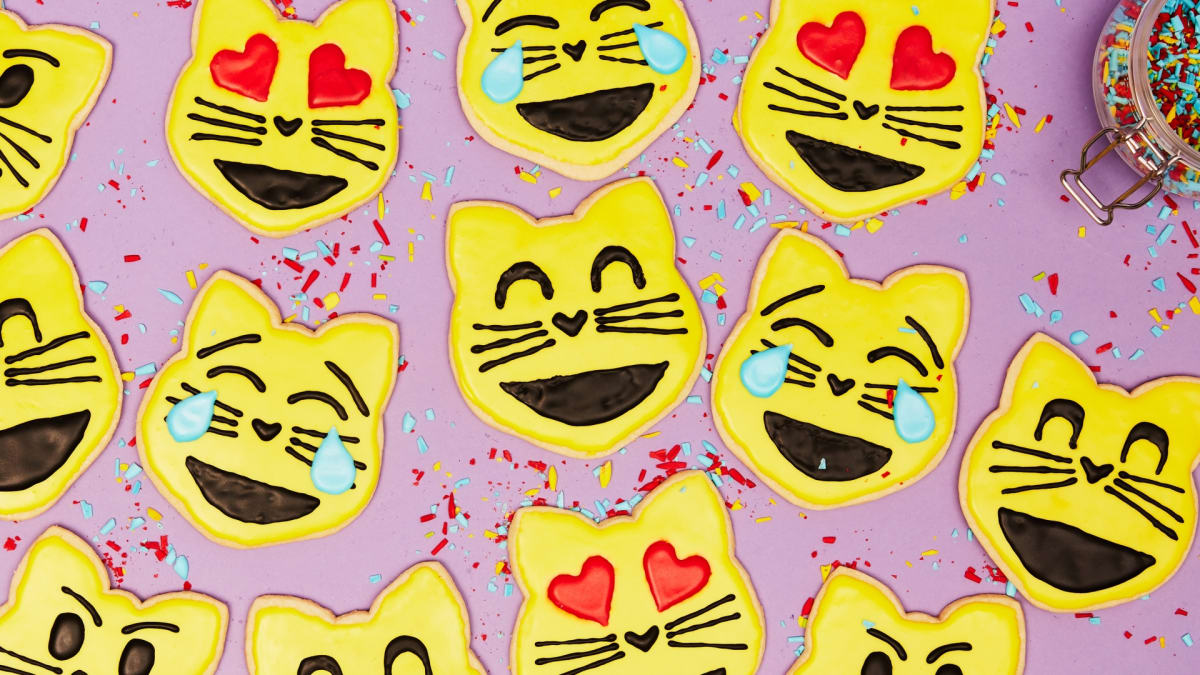 Rosie creates super-cute Cat Emoji Sugar Cookies.